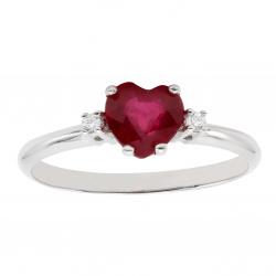 Anello cuore rubino e diamanti